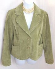 LIVE A LITTLE Soft Green Sueded Leather Jacket Sz M NEW Lined Pockets Long Slve
