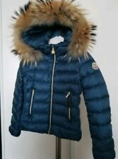 MONCLER Solaire Puffer Jacket Girl's with Fur Trim Blue Size 7/8 Y $685+