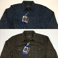 NEW Men's Freedom Foundry Heathered Chamois Button Down Flannel Shirt Blue Brown