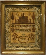 More details for mid 19th century church, motif & verse sampler by eliza poole aged 11 - c.1845