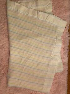 Chatham Vintage Pastel Stripe Baby Blanket Waffle Weave Cream Satin Trim Lovey
