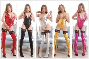 Sexy Women's PU Leather Deep V Bodysuit+Stockings Leotard  Bodycon Lingerie