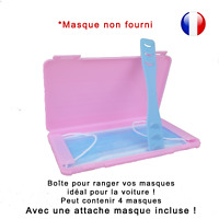 Boîte de rangement rose et attache bleue pour masque