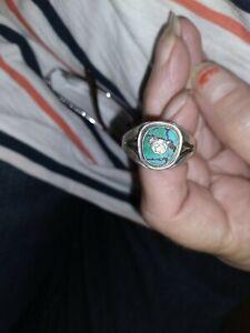 Vtg Men's 0.925 Sterling Silver & Turquoise Masonic Shriner Ring 13 1/2 size
