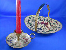 Christmas Candle Holder and Tray / Plate Solid Brass Hand Painted in India