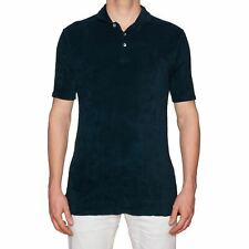 "FEDELI ""Mondial"" Solid Navy Blue Terry Cloth Polo Shirt EU 52 NEW US L"