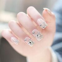 24 Pcs/Set Women Girl Bride Pink 3D Fake Nails Wrapped Tips Artificial Fal hy