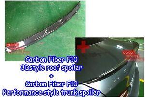 Carbon Fiber BMW 11~16 F10 5-series Sedan 3D type roof + P type trunk spoiler ◎