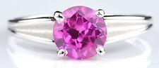 Real 14KT White Gold Round Shape 1.40 Carat Natural Pink Tourmaline Wedding Ring