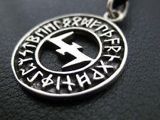 Runen Ring 925'er Silber Anhänger Wolfsangel Wikinger / KA 257
