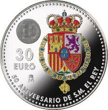 Spain 30 euro 2018 Silver - 50th anniv. of King Felipe VI - COLOURED - AVAILABLE