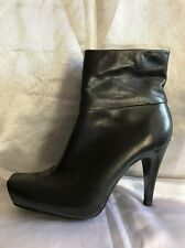 Bertie Black Leather Ankle Boots Size 40