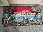 Vintage Swan Lake Themed Tapestry Made In Italy