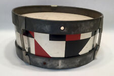 Vintage Toy Drum Red Black And Silver Geometric Design