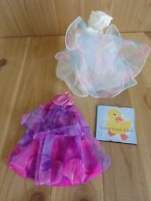 Barbie Doll Clothing Lot of 2 DRESSES GOWNS White Purple Floral Layered Skirts