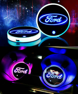 2PCS Car 7 Colors Cup Holder Pad LED Coaster Light USB Charging Mat for Ford