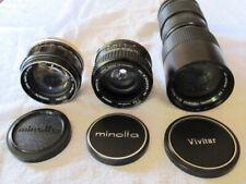 Minolta camera lens set with filters, adaptable to digital camera bodies
