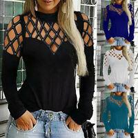 Fashion Women Plus Size Casual Tops Long Sleeve Cut Hollow Out Blouse T-Shirt