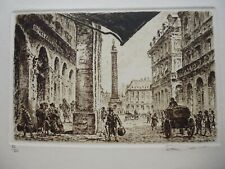gravure 19°:eau forte originale:Paris rue castiglione,hotel continental N°87/200