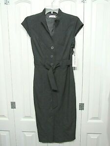 NWT CALVIN KLEIN CHARCOAL GRAY BUTTON FRONT CAP SLEEVE DRESS SIZE 6