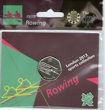2012 50p OLYMPIC 19/29 ROWING COIN HANGING BAG BRILLIANTLY UNCIRCULATED !