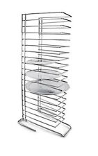 More details for pizza pan tray rack 18-slot shelf stand stacking thin pans trays steel