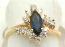 1.00 Carat Diamond & Sapphire Marquise Ring 14k Gold New In Box