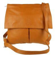 Pocket Real Italian Genuine Leather Vera Pelle Shoulder Bag Cross Body Strap