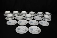 Set of 9 Vintage Rosenthal Plaza Footed Cups and Saucers by R. Loewy