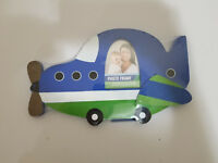 "AirPlane Photo Frame, Blue Green, Child Room Decor Fits 3.5"" X 2.5"" Photo"