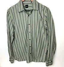Mens HUGO BOSS Black Label Striped Long Sleeve Shirt Medium Brown / Tan