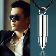 Fashion Men Silver Steel Bullet Pendant Necklace Chain Cool Jewelry Gif