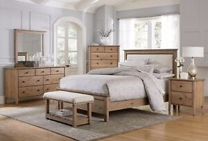 Transitional Bedroom Set Upholstered Headboard Nail Head Solid Wood Queen King
