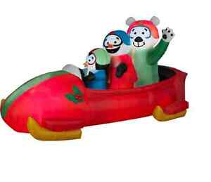 7' Gemmy Animated Penguin Bobsled Christmas Inflatable -Airblown Yard Decor SALE