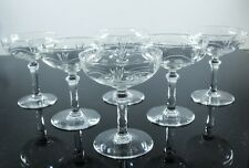 ANCIENNES 6 VERRES COUPES A CHAMPAGNE CRISTAL TAILLE GRAVE CRISTALLERIE NANCY