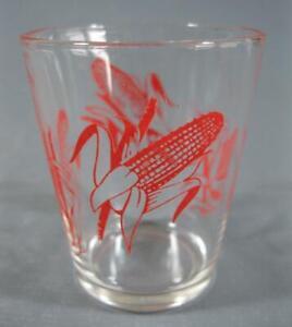 Retro/vintage 60s mini Swanky Swig glass/tumbler-red corn cob motif