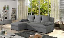 Canapé d'angle Gino en gris avec fonction de sommeil et caisse-sommier de lit
