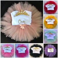 Baby Girls 1st First Birthday Outfit Cake Smash Outfit Tutu Skirt Vest & Tiara