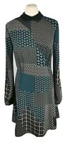 M&S 10 Blue Black White Patchwork Style Fit Flare Collared Dress Party Casual