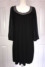 White House Black Market Dress Black  Embellished Neckline Sheer Bishop Sleeve L