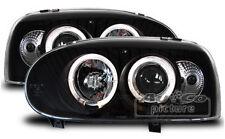 Faros Delanteros con 2 Ojos de Angel VW Volkswagen Golf 3 Negro