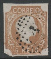 Portugal - 1856/8, 5r Brown - Curly Hair - 4 Margins - Used - SG 18a