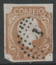 Portugal - 1856/8, 5r Brown - Curly Hair - 4 Margins - Used - SG 18a