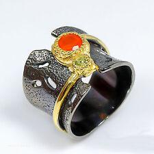 Ring Size 8 Elegant Art Natural Carnelian 0.925 Silver