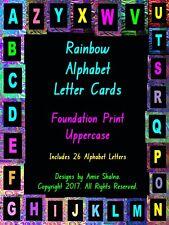 Alphabet Cards Blackboard Rainbow, Laminated Foundation Print, Decorative Games