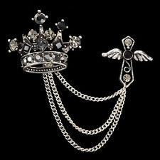 New Men Jewelry Accessories Rhinestones Crown Cross Badge Tassel Brooch Best JB