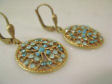 NWT La Vie Parisienne Gold Crystal Filigree Pendant Earrings Pacific Opal 4784G