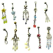 10 x dangle dangling belly bars silver stainless steel crystal gem navel 14g
