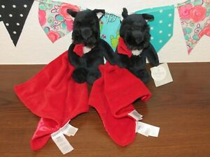 NWT Carters Black Scottie Dog Red Puppy Rattle Lovey Security Blanket Toy LOT 2