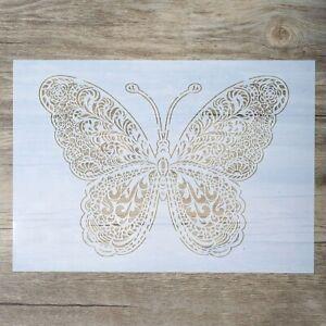A4 Large Butterfly Mandala Decorative Plastic Stencil Reusable Mylar Stencils